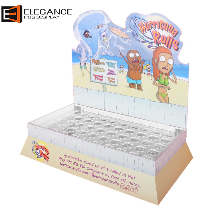 Table Top Cartoon Painting Acrylic Base and PVC Board Display Rack with many Holes
