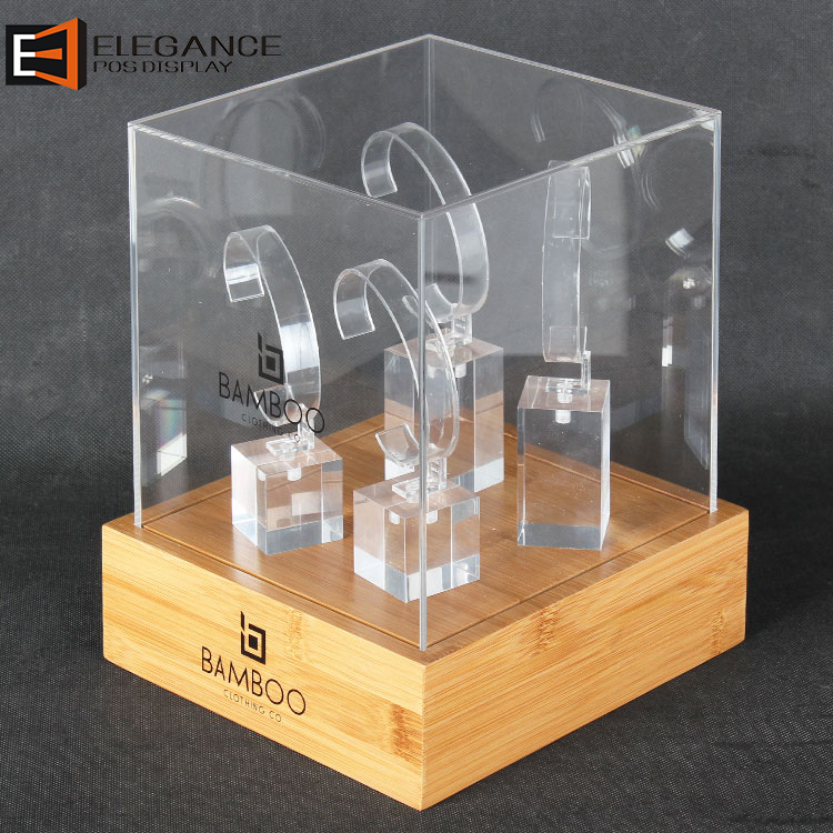 Silkscreen Bamboo Base and Clear Acrylic Cover Watch Display Box