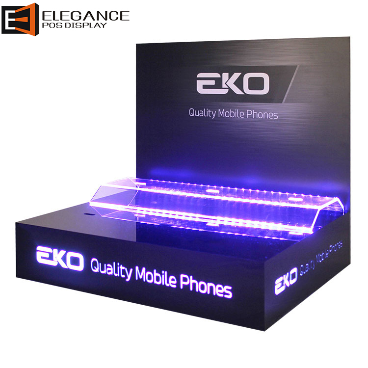 Cool Counter Acrylic and PVC Back Plane Cellphone Showing Stand with LED Lights