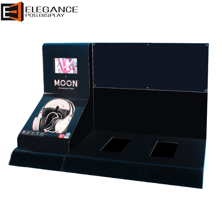 Vogue Counter Black Acrylic Headphone Display Rack with 7 inches LCD