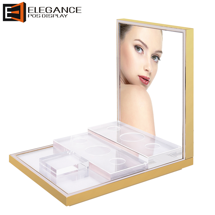Luxury Counter top Stainless Steel and Acrylic Perfume Display Rack with LED Lights