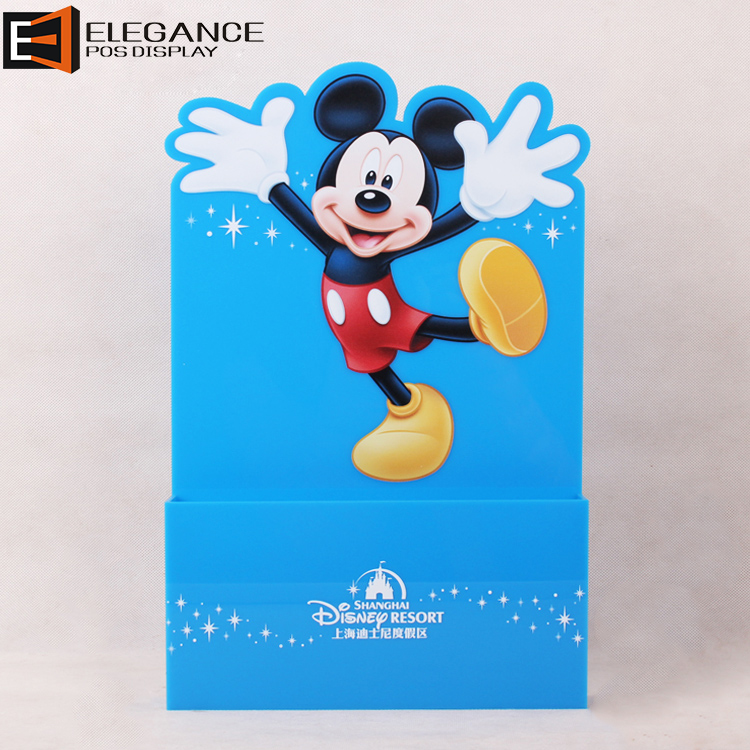 Mickey Theme Countertop Blue Acrylic Magazine Flyers Leaflet Display Stand