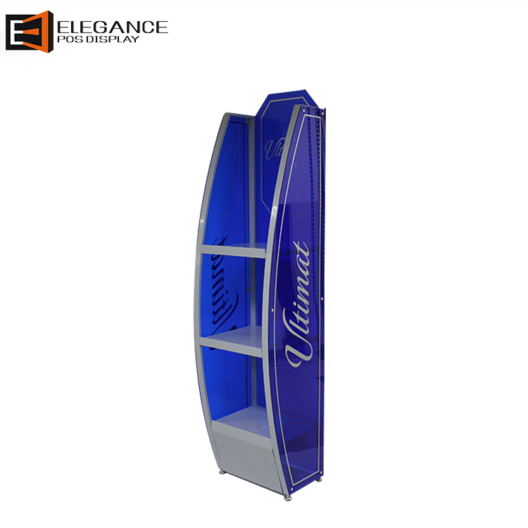 Custom Wholesales Mobile Portable Floor Blue Acrylic Display Stand for Wine