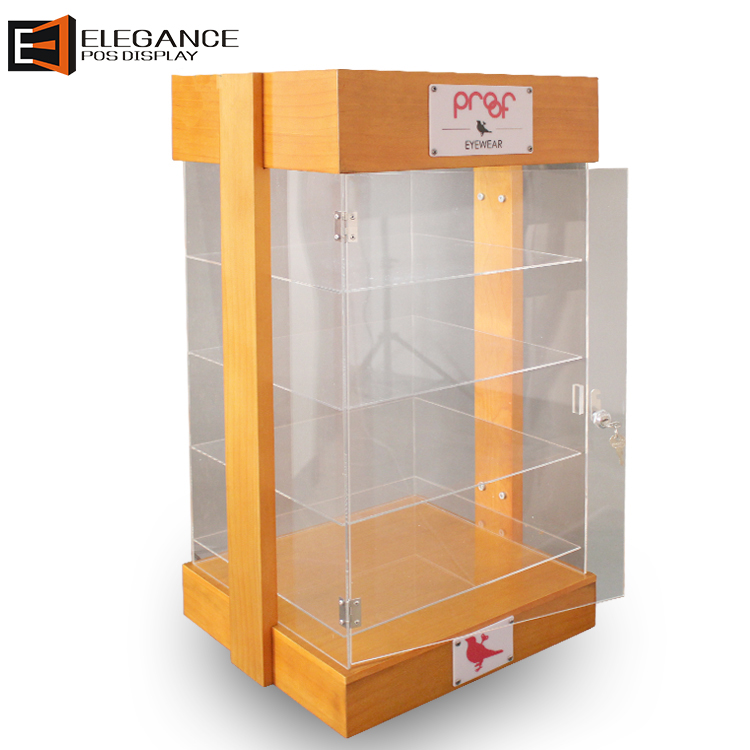Four Sides Show Clear Acrylic and Wooden Sunglasses Display Boxes with Light and Lock
