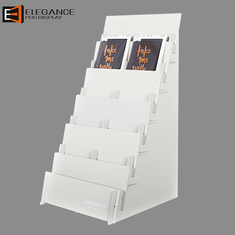 Protable Countertop Six-tier White PVC Card Display Brochure Display Shelf