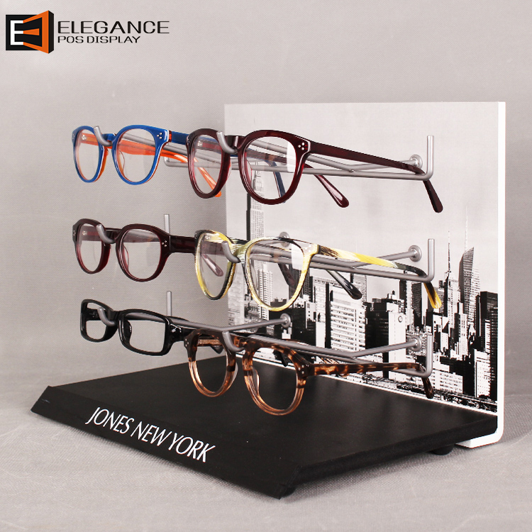 Environmental PVC & Metal Table Display Rack With 3 Tier Hooks For High-end Glasses