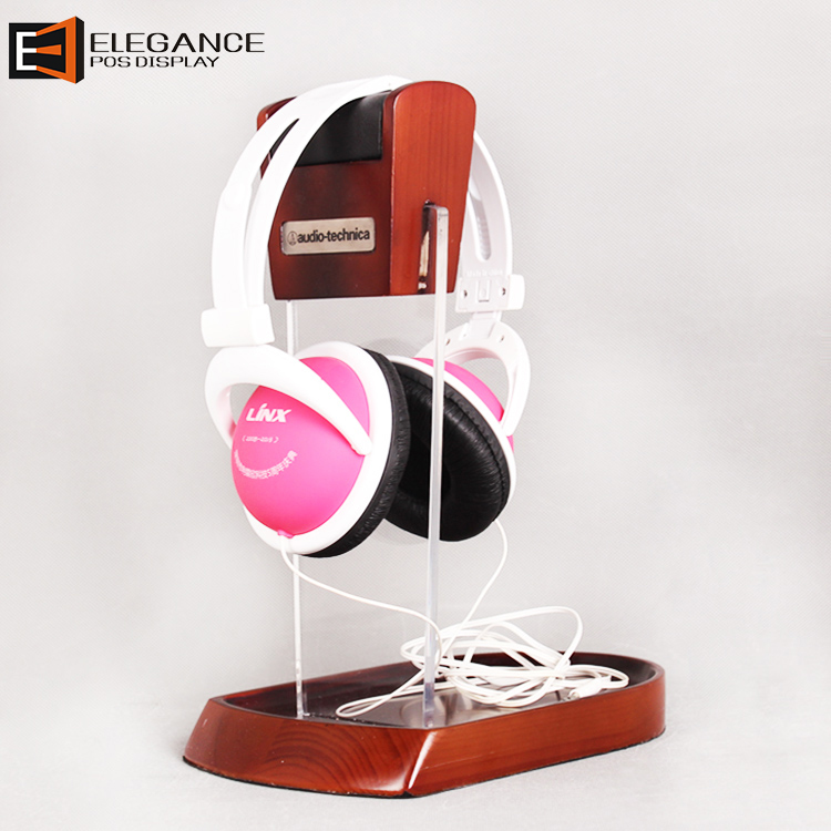Counter Top Acrylic & Wood Display Headset Display Stand