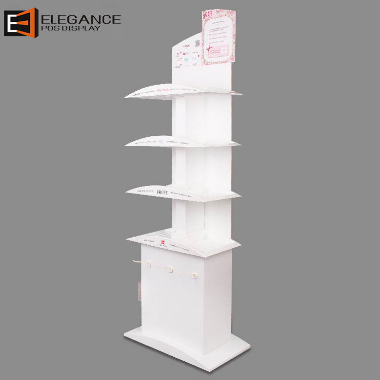 Customized Floor White PVC Cosmetics Display 4 Tiers Display Stand