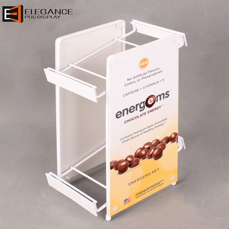 Cashier Desk Chocolate Rack 2 Tiers Metal Wire And PVC Display Coffee Bean Shelf