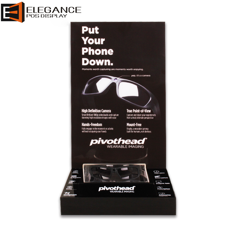 Counter-top Black Acrylic Intelligent Glasses & Smartglasses Display Stand (Pivothead)
