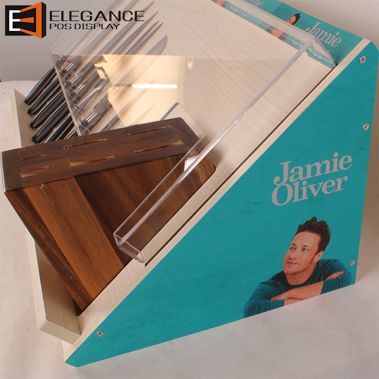Fashion Promotion Counter-top Acrylic & MDF Multiple Knives Display Box With Cover (Jamie Oliver)