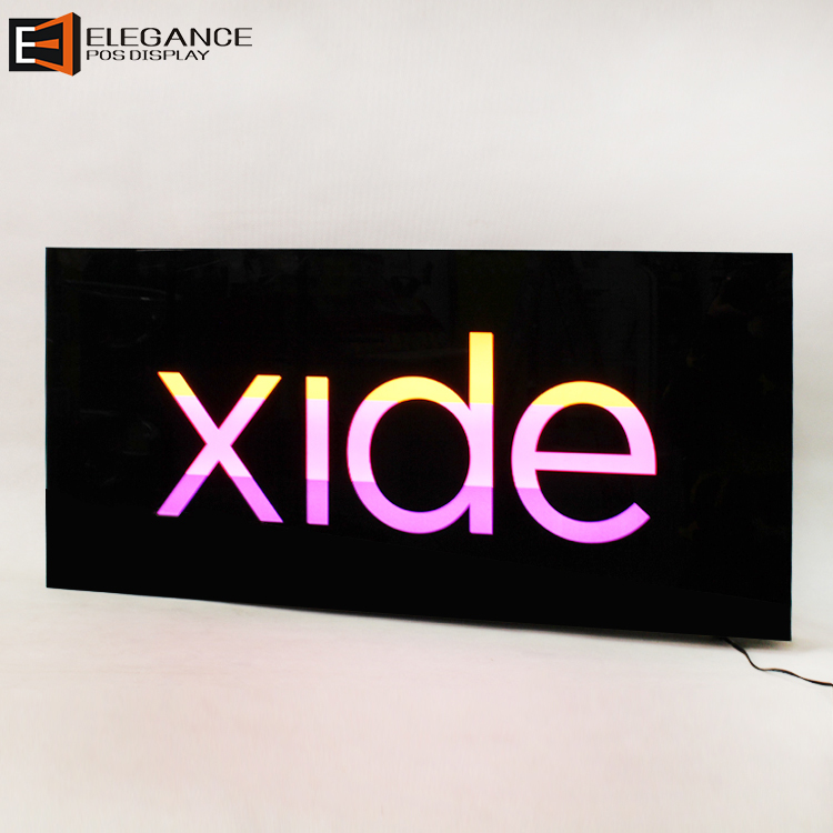 Hot-sale Counter-top or Wall-hung Type Black Acrylic Logo Sign Light Box
