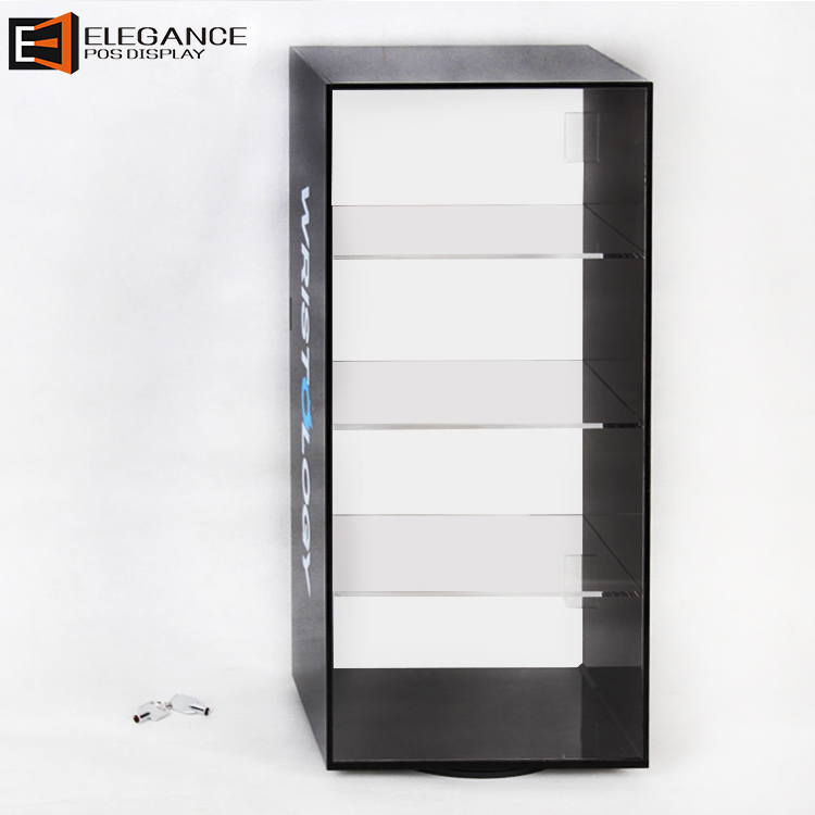 Countertop Three Layers Rotatable Acrylic Watches Display Case With Lock