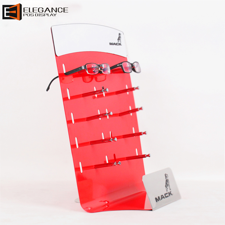 58950fcdbb Customized Countertop Red Acrylic Sunglasses Display Rack With Ten Hooks