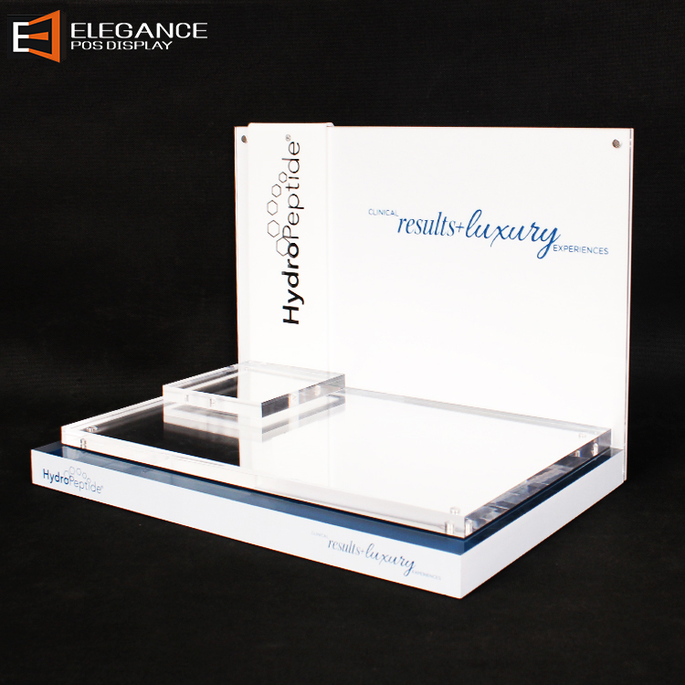 Luxury Clear And White Acrylic Cosmetic Tabletop Display Stand With Mirror