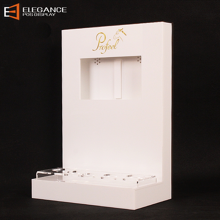 Countertop White Acrylic Skin Care Display Rack