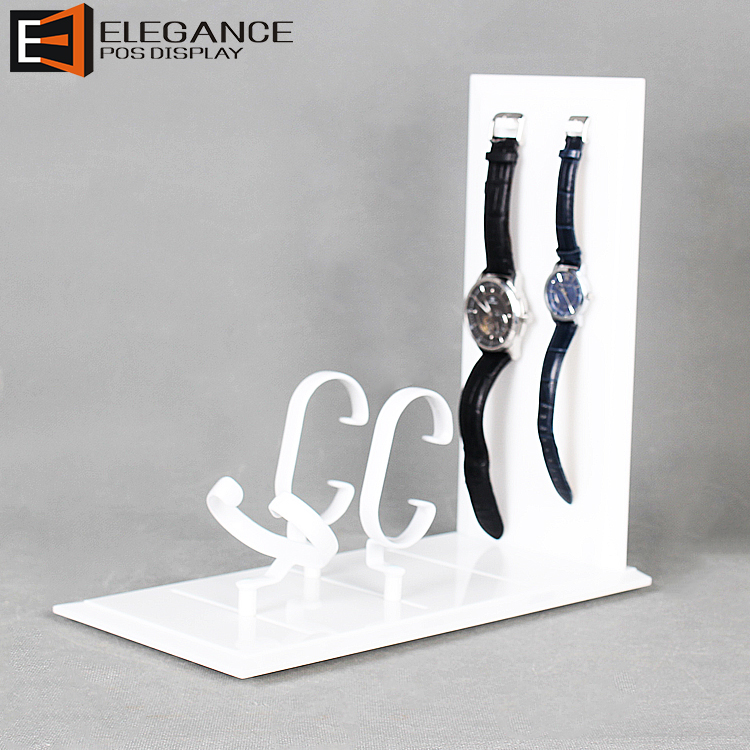 Countertop Mini White Acrylic Watch Display Rack in Fashion