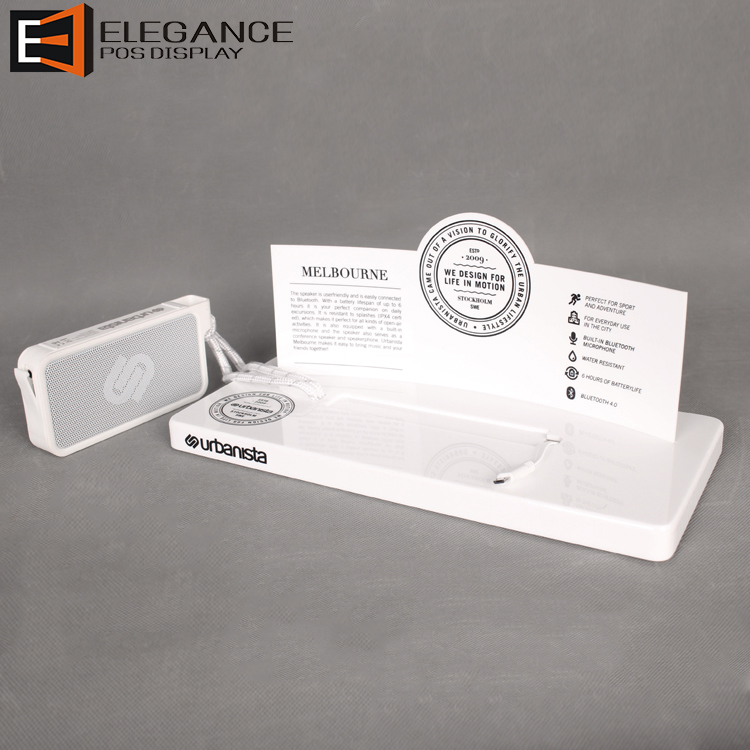 Countertop White Acrylic Sound Box Display Speaker Baffer Box With Replaceable Poster
