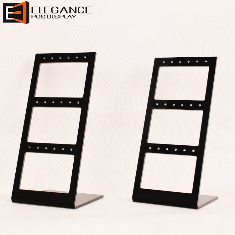 Hot-sale Counter table Black Acrylic Jewelry Earring Display Rack