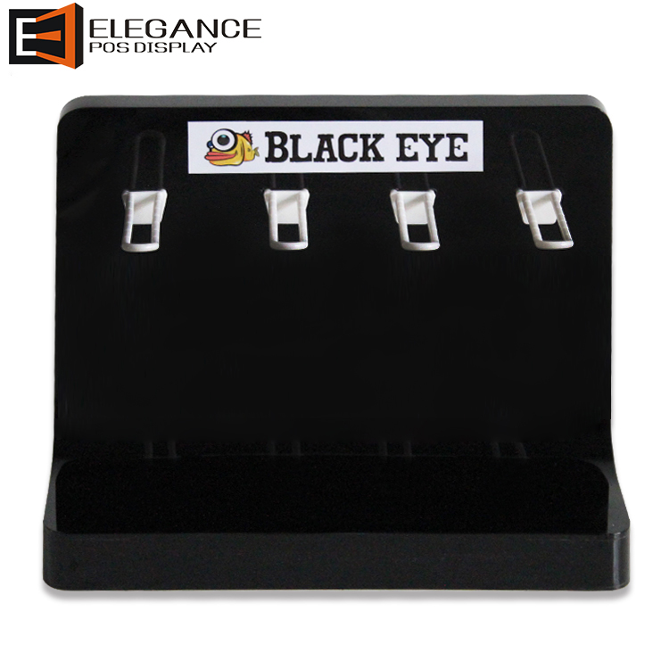 Black Contact Lens Display Eye Lens Display Rack With 4 White Hooks