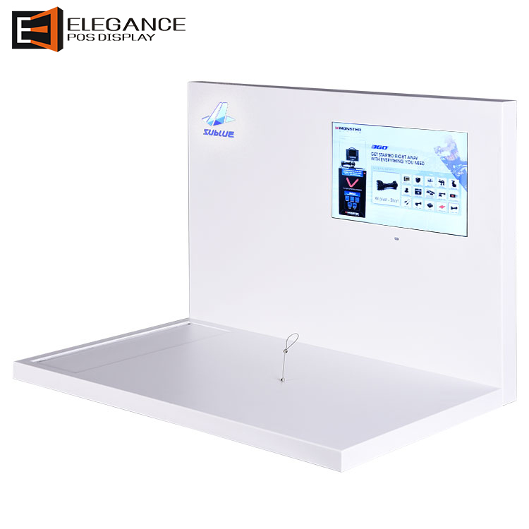 White Acrylic Sewer Propeller Display Rack with LCD Screen