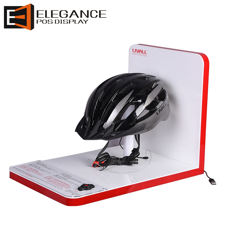 Counter Top Red and White Color Acrylic Safety Bike Helmets Display Rack