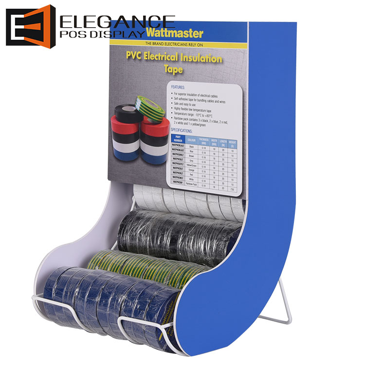 Slide Shape Counter Metal Wire & PVC Masking Tape Display Rack