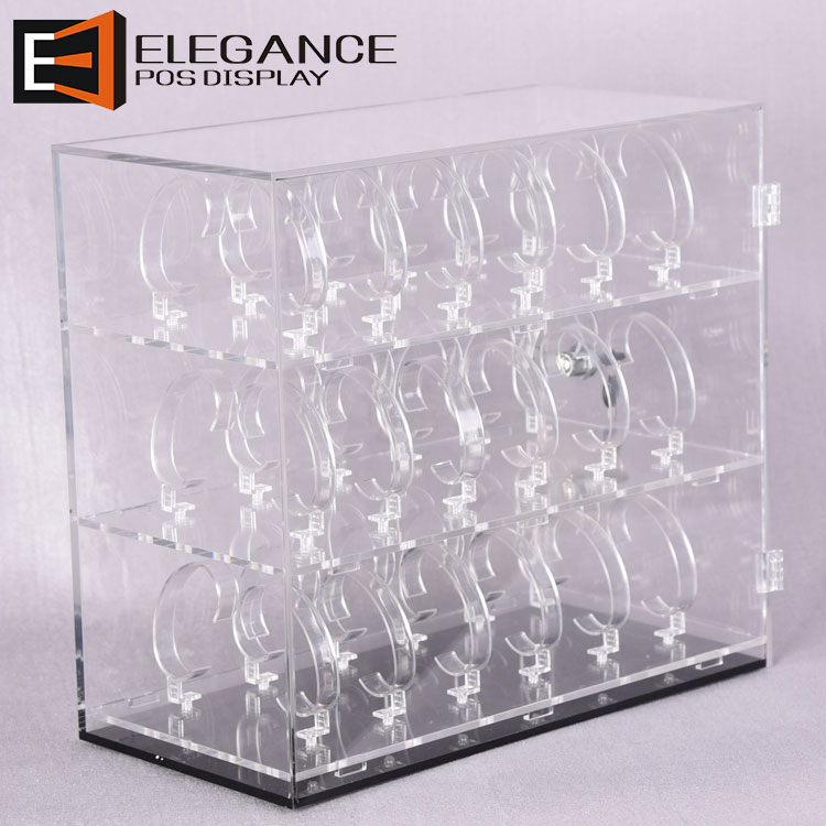 Custom Acrylic Watches Displays Boxes with C Rings and Lock