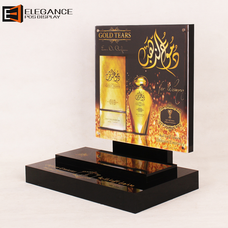 Customized Beautiful Counter Top Black Acrylic Perfume Display Stand with Golden Background